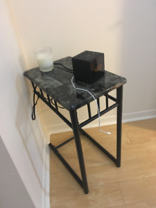 Grey Marble /Charcoal Metal Accent Table