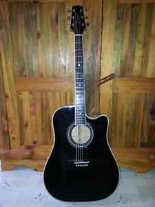 Black Takamine Acoustic  Electric Pro Model  and a rare Fender