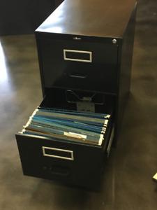 Classeur filière noir 18x26x29h 2 tirroirs - filing cabinet
