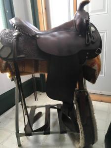 """Western saddle Billy Royal 17"""" +John Lyons-Gold Reins"""