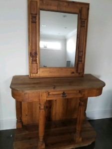 Mexican wood mirror/table