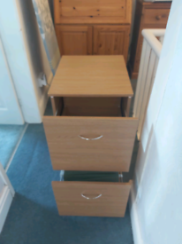 Oak effect 2 drawer filing cabinet
