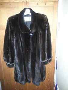 Fur coat-dark ranch mink 3/4 length