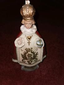 Antique vintage religious chalk statue
