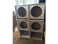 "15"" scoop bass bins & 15"" MID/BASS speaker boxes"