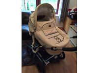 Emmaljunga mondial duo leather cream pram stroller sports chassis air wheels