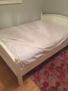Queen size white bed frame