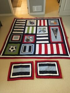 Pottery Barn sports blanket with matching pillowcases