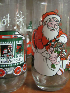 9 Vintage 1980s Coca Cola Santa Christmas Glasses