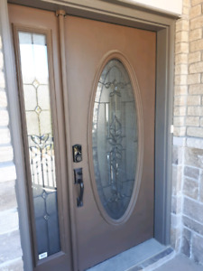 Fiberglass exterior front door and sidelite