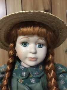 Anne of Green Gables Porcelain Doll with Stand and slate