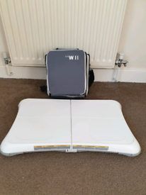 Wii console and balance board