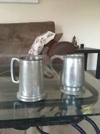 Pewter pint mugs vintage items