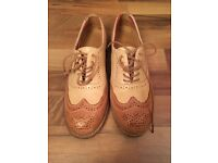 Ladies size 4 leather tan brogues
