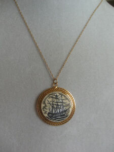 GORGEOUS OLD 10K GOLD [stamped]PIRATE'S SHIP PENDANT NECKLACE