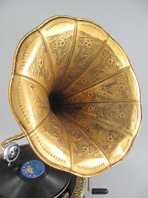 Grammophon Graviert Ziseliert Rund Metallic Silber Optik Geschenk Dekoration Musikinstrumente Grammophone