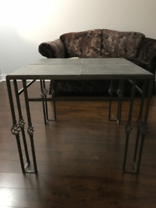 1) Grey color stone look coffee table 2) Two/2 seater love sofa