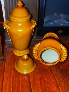 "Pair 16"" Tall Lidded Glazed Ceramic Ginger Jar Urns: Attractive!"