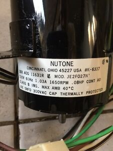Nutone Robbins & Myers Jakel Motors Electric Motor Fan Utility