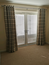 Grey lined eyelet curtains 200width x220 drop