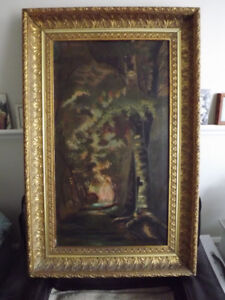 Fabulous Early Canadian Gold Framed Painting circa 1890's
