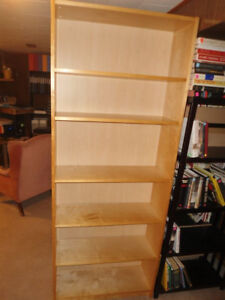 Bookcase (six and a half feet high, light brown)