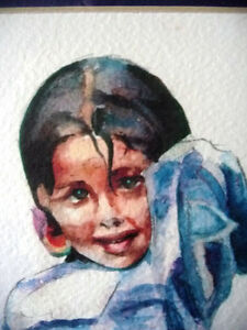 "Watercolor Lithograph by Lisandro Lopez Baylon ""Portrait of Indi Stratford Kitchener Area image 4"