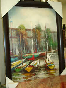Oil Painting of Sail Boats Docked