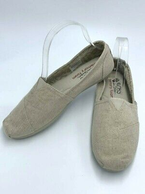 Skechers Bobs 7.5 Natural Linen Look Best Wishes Memory Foam Slip On