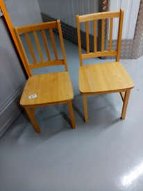 2x pine dining chairs