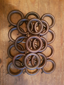 22 x dark wood curtain rings