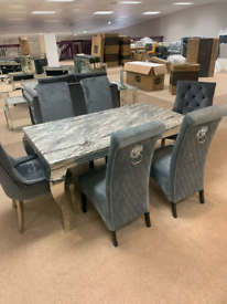 Marble look table and Crushed velvet chairs