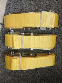 3x 75mm wide, 4m long, heavy duty endless ratchet straps