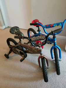 Spiderman and Cammo kids bicycles