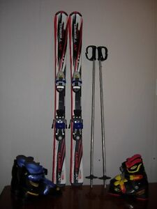 Kid Skis, poles and two pairs of boots