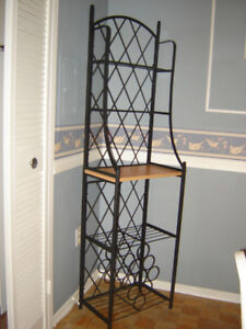 Wrought Iron Baker's Rack with wine rack.