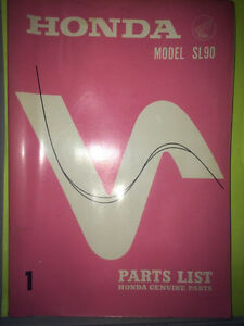 1968 Honda SL90 Parts Book