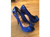 Electric Blue Peep Toe Heels - Size 5 WORN ONCE
