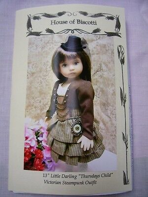 "13"" Effner Little Darling ""Thursdays Child"" PATTERN, Steampunk Outfit"