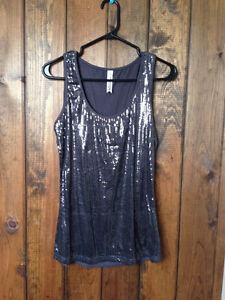 TWO SPARKLY DRESSY SEQUIN TANKS. GREY. CHEETAH