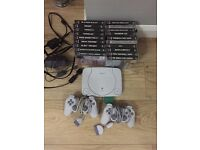 Ps one with 19 games 2 controllers old retro console PlayStation 1