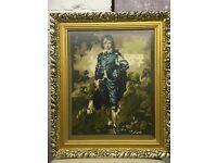 Vintage framed tapestry boy in blue