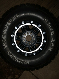 "MUST SEE! Set of five 33"" Mickey Thompson's on Worx rims"