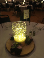 Glass Pillar vase with string LED lights included