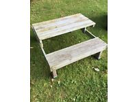 Kids wooden bench in need of painting