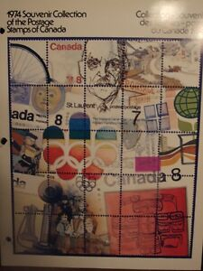 CANADA SOUVENIR COLLECTION STAMPS YEAR 1974