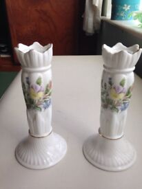 Pair of Bone China candlesticks by Aynsley