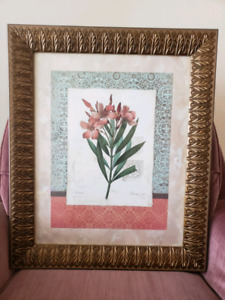 Floral painting with glass and wooden frame $20