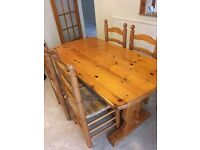 Dining table, 4 chairs and a welsh dresser