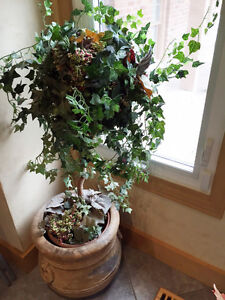 2 artificial plants and beautiful pots for $20